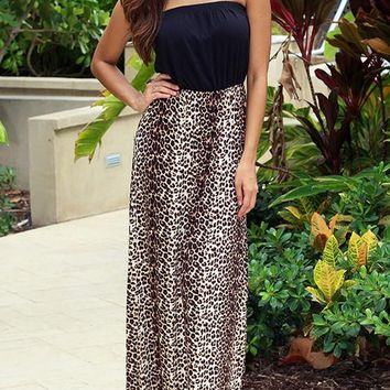 Black Patchwork Boho Leopard Draped Off Shoulder Backless Bridesmaid Homecoming Party Maxi Dress