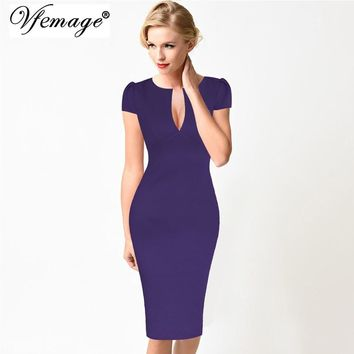 Vfemage Womens Sexy Elegant Summer Floral Flower Lace Vintage Tunic Slim Casual Party Fitted Sheath Pencil Bodycon Dress 2181