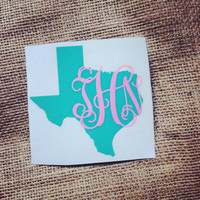 ANY state  Decal State Initials Car Decal Monogram Decal Monogram Vinyl Vinyl Decal Monogram Gift Monogram sticker Car sticker Car Initials