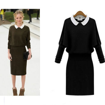 Black Long Sleeves Doll Collar Elastic Waist Dress