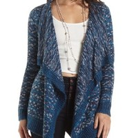 Marled Cascade Cardigan Sweater by Charlotte Russe - Blue Combo