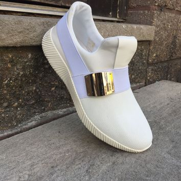 Encore White Magic Low-Top Buckle Sneakers
