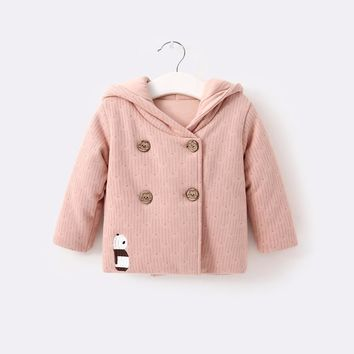 Pureborn Winter Jacket for Girls Boys Coat Tops Baby Clothes Pink Blue Cartoon Panda Pattern Christmas New Year Gifts 2017 New
