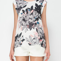 DITGITAL FLORAL AND LEAVES PRINT TOP