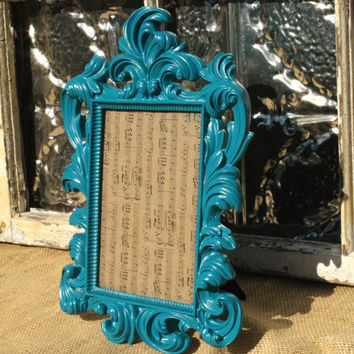 Ornate Baroque Picture Frame/ 5 x 7 Picture Frames/ Decorative Ornate Teal Blue 5 x 7/ Wedding Number Sign Holder