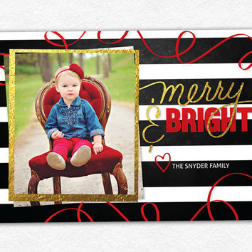 Printable Christmas Card -- Holiday Photo Card - Modern Merry & Bright Gold Foil Stripes