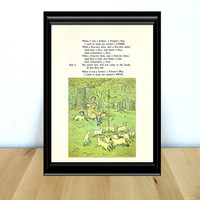 With a Baa-Baa Here, and a Baa-Baa There, Fairy Tale & Children's Home Decor Print (1970s} Vintage Book Page