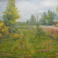 """Custom Summer Rural Landscape Green Oil Painting Village Forest """"Mother Nature"""" House Still Life Contemporary Art Realism Russian Nature"""