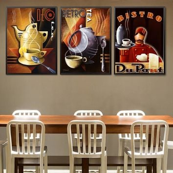 Modern Waiter Canvas Painting Wall Art Picture for Kitchen Decoration Reataurant Posters and Prints Coffee House Cafe Decor