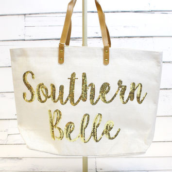 Southern Belle Sequin Juco Tote