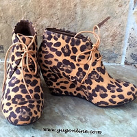 Lace Up Leopard Wedge Bootie