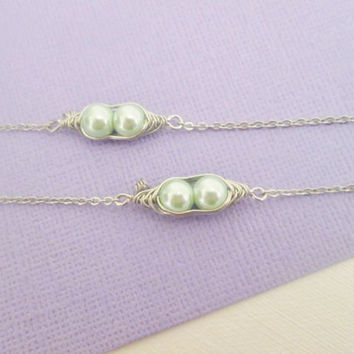 Best friends light mint green wire wrapped two peas in pod bracelet set