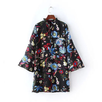 Black Floral Print Ruffled Collar Bow Flare Sleeve Straight Dress