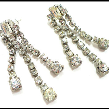 3 Strand Rhinestone Earrings, Vintage Pierced Earrings Bridal Earrings Bridesmaid Maid of Honor Stage Performance Rockabilly Astronaut Wives