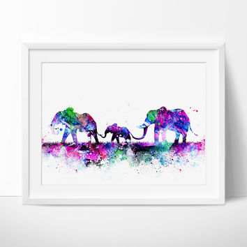Elephant Family Watercolor Print, Nursery Art Print, Watercolor Painting, Wlephant watercolor, Animal Art, Children's Wall Art, Decor (132)