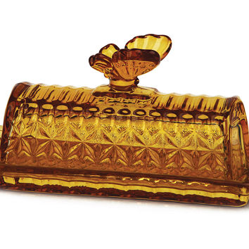 Butterfly Butter Dish, Amber, Butter Dishes