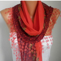 ON SALE -Summer Scarf Shawl - Cotton Weddings Scarves - Cowl with Lace Edge  - Red