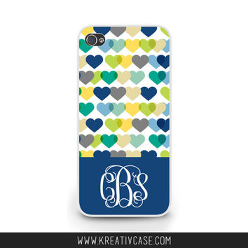 Hearts Phone Case, Monogram, Personalized, iPhone 4 4s 5 5s 5C, Samsung Galaxy s3 s4 s5, BlackBerry z10 Q10, Phone Cover - K344