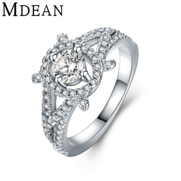 MDEAN White Gold Plated Rings for women fashion women wedding engagement Rings vintage ring Bague AAA CZ diamond jewelry MSR857