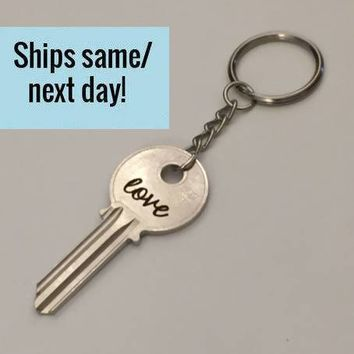 Engraved Key Keychain, Long Distance Friendship, Long Distance Relationship, Engraved Key, Christmas Gift, Stocking Stuffer, Key Keychain