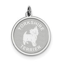 Sterling Silver Yorkshire Terrier Disc Charm QC2714