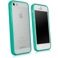BoxWave Apple iPhone 5 UniColor Case - Sleek Dual Tone TPU Case for Durable Anti-Slip Protection, Transparent Matte Back with Solid Bumper Border - Apple iPhone 5 Cases and Covers (Teal)