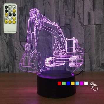 Creative 3D Excavator Night Lamp With 7 Changable Colors With and Without Remote