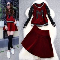 Maroon Letter  Sequined Emroidered Sweater And A-Line Mini Dress