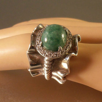 Sterling Diamond Jade Ring, Statement Cocktail Wide Ruffled 16 grams Size 6.25
