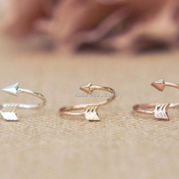 Arrow rings - Gold, Rose Gold and Silver; adjustable size; minimalist knuckle rings, midi rings, mini rings