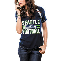 Women's Seattle Seahawks Majestic College Navy Game Day V-Neck T-Shirt