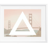 Minimal Golden Bridge, Wall Art, Art Print, Poster Print, Office, Home Decor, Dorm