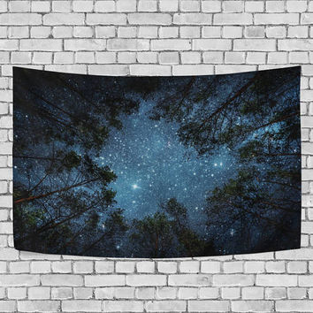 Beautiful Night Sky Tapestry Wall Hanging Milky Way and the Trees Wall Art Home Decor