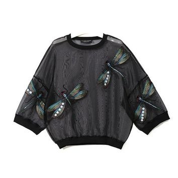 Tops and Tees T-Shirt 2018 Summer Women Black White Plus Size Mesh Top Tee Dragonfly Long Sleeve T-shirt Transparent Lady Sheer Oversized T Shirt 3394 AT_60_4 AT_60_4