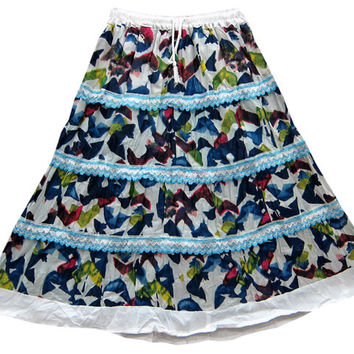 Boho Tiered Skirt Blue White Printed Cotton Peasant Skirts for Womans