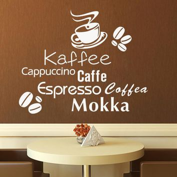 Bakery Cafe Shop Coffee Cup Quote Wall Stickers