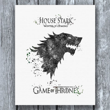 Game of Thrones House Stark Watercolor Art Print Instant Download