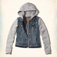 Girls Hoodie Denim Jacket | Girls Jackets & Outerwear | HollisterCo.com