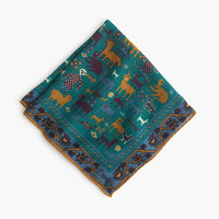 J.Crew Mens Drake's Italian Wool-Silk Pocket Square In Block Print