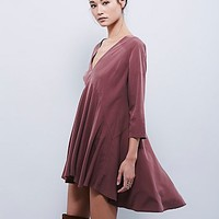 Free People Womens Deep V Solid Cupro Tunic
