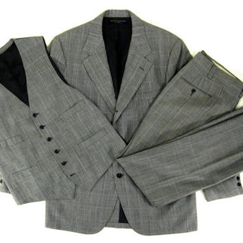 Vintage Brooks Brothers Three Piece Suit - Black and White Glen Plaid Yellow Blue Check - Men's Size 43 Long 36 Waist