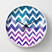Universal Geometry - Chevron with purple and aqua galaxy Wall Clock by Tangerine-Tane