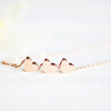 3 hearts necklace - rose gold titanium