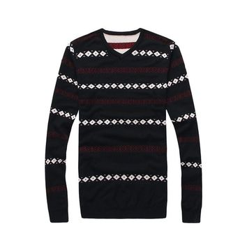 West Street Haku Men's Striped Christmas Classic Knit Crewneck Sweaters