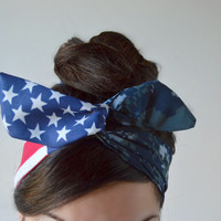 Navy digital Camo Patriotic Dolly bow, Woodland American Flag head band, hair bow
