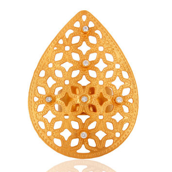 Handmade 24k Gold Plated Filigree Floral Design White Cubic Zirconia Ring