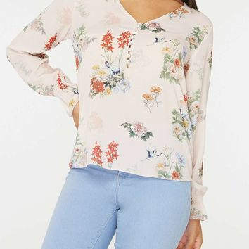 Blush Bird Print Long Sleeve Top | Dorothyperkins