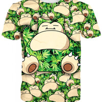 3D Cartoon New Fashion Weed Leaf and Snorlax Pocket Monster T-Shirt Sports Summe