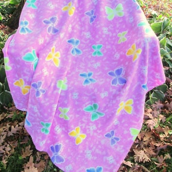 Butterflies on Pink Fleece Extra Large Lap or Throw Blanket - Lap Blanket, Stadium Blanket. Throw - Pink, Purple, Green, Yellow, Lime