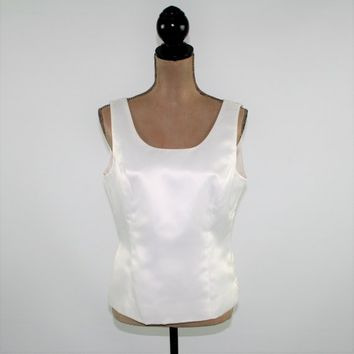 Sleeveless White Satin Top Women Medium White Top Dressy Cocktail Blouse Scoop Neck Top Kasper Size 10 Blouse Womens Clothing